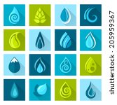 Set Of Water Drops Icons Set...