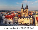 aerial view over old town... | Shutterstock . vector #205982263