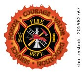 firefighter honor courage valor ... | Shutterstock .eps vector #205982767