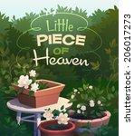 garden card  poster design.... | Shutterstock .eps vector #206017273