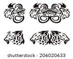 adorno,y,canino,rizo,doble,bordado,grabado,gruñido,gruñendo,leopardo,león,boca,orgulloso,roar,miedo