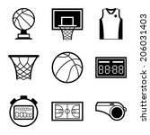 basketball icon set in flat... | Shutterstock .eps vector #206031403