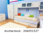 bright bedroom with a bed and... | Shutterstock . vector #206051527