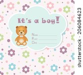 baby boy arrival card. baby... | Shutterstock .eps vector #206084623