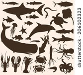 Vector Big Set Of Sea Animals...