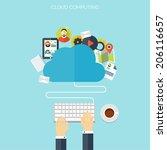 flat cloud computing background.... | Shutterstock .eps vector #206116657