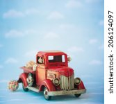 old antique toy truck carrying... | Shutterstock . vector #206124097