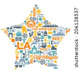 los angeles california icons... | Shutterstock .eps vector #206128537