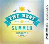 retro summer holidays poster.... | Shutterstock .eps vector #206139877