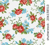 beautiful seamless floral... | Shutterstock .eps vector #206158513