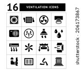 set icons of ventilation and... | Shutterstock .eps vector #206173867