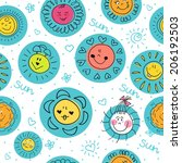 cute seamless pattern with suns. | Shutterstock .eps vector #206192503