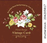 vintage greeting card with... | Shutterstock .eps vector #206205817