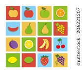 flat icon fruit | Shutterstock .eps vector #206221207