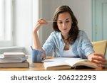 teenage girl studying reading