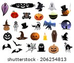 set of colorful halloween icons ... | Shutterstock .eps vector #206254813
