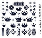 set of crowns and decorative... | Shutterstock .eps vector #206262133
