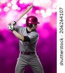 baseball player on a pink...   Shutterstock . vector #206264107