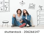 portrait of happy young couple... | Shutterstock . vector #206266147