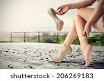 legs shoes and city landscape  | Shutterstock . vector #206269183