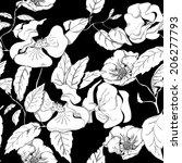 seamless monochrome floral... | Shutterstock .eps vector #206277793