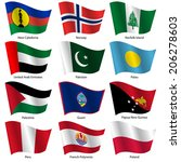 set  flags of world sovereign... | Shutterstock . vector #206278603