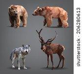 set of forest animals  bears ...   Shutterstock .eps vector #206280613