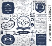 retro hand drawn elements for... | Shutterstock . vector #206286277