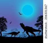 dinosaurs silhouettes in... | Shutterstock .eps vector #206331367