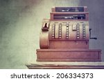 antique style cash register  | Shutterstock . vector #206334373