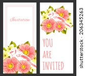 set of invitations with floral... | Shutterstock .eps vector #206345263