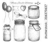 vector collection of ink hand... | Shutterstock .eps vector #206370637