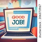 laptop card  poster design.... | Shutterstock .eps vector #206373967