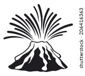 volcano mountain top exploding  | Shutterstock .eps vector #206416363