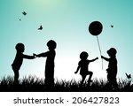 children silhouettes | Shutterstock .eps vector #206427823