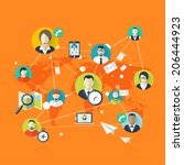 flat social media and network... | Shutterstock . vector #206444923