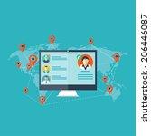 notebook  computer icon. social ... | Shutterstock . vector #206446087