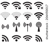 wifi or wireless icons set for... | Shutterstock .eps vector #206450017
