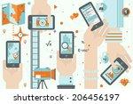 flat design vector illustration ... | Shutterstock .eps vector #206456197