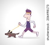 man running with dog   vector... | Shutterstock .eps vector #206498173