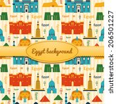 Landmarks of Egypt vector background in flat style with ribbon and label - stock vector