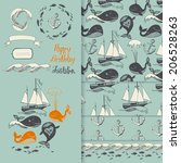 pattern with marine motifs.... | Shutterstock .eps vector #206528263