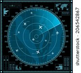 blue radar screen with planes.... | Shutterstock .eps vector #206542867