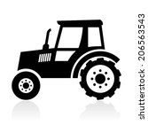 tractor icon  black on white... | Shutterstock .eps vector #206563543