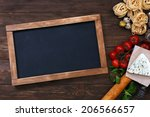 italian food on vintage wood... | Shutterstock . vector #206566657