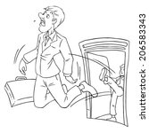 cartoon of businessman being... | Shutterstock .eps vector #206583343