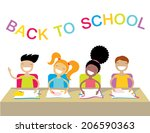 happy kids at school lesson.... | Shutterstock .eps vector #206590363