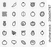 fruits and vegetables icons | Shutterstock .eps vector #206604787