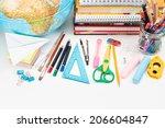 top view of school accessories... | Shutterstock . vector #206604847