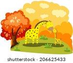 illustration of mother giraffe... | Shutterstock .eps vector #206625433